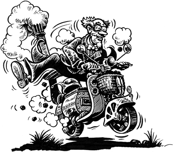 Illustration from 'Children of another Albion' of a man riding a steam-punk motor scooter.
