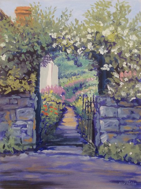 Looking through an arched gateway into a Spring Garden. Painted in oils.
